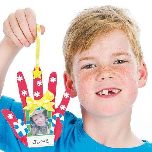 クリスマス スポンジ 手形オーナメント 工作キット(4枚入り) 子どもたちのアクティビティに
