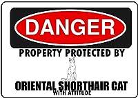 Hypothesis 30x20cm 警告ポスター ブリキ 看板 Oriental Shorthair Cat Parking Only がいる壁の装飾用のティンサイン