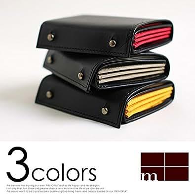 (エムピウ)m+ 二つ折り財布 millefoglie ORIGINAL ミッレフォッリエ オリジナル black×オレンジ