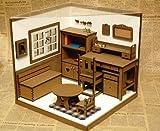 ミニチュア ドールハウス 家具・小物フルセット 1/6スケール (1)窓ホワイト×床ブラウン クマトくりぬき