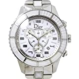 クリスチャン ディオール Christian Dior クリスタル クロノグラフ CD114310 メンズ 腕時計 デイト ホワイト ウォッチ 【中古】 90060649