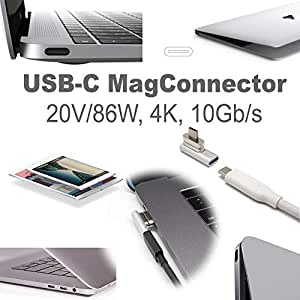 USB-C 3.1 PD 86W Magnetic Power Connector (MagConnector, Silver)