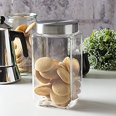Set of 12 – 1600ml Square Large Glass Jars with Lids | Bulk Storage Canisters Containers Food Jar | Air Tight Food Storage Containers with Screw on Lids | Kitchen Canisters for storing Flour, Cereal, Sugar, Container, Tea, Coffee, Cookies, Pasta Jar | Who