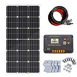 ECO-WORTHY 100W 12v太陽光発電システム 100W単結晶ソーラーパネル 20A 液晶表示画面チャージコントローラー 付属