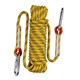 QIANGSHENG 多目的ロープ 太さ: 10mm 長さ: 20m 耐荷重1000㎏ セット アウトドア キャンプ 防災 (イエロー)