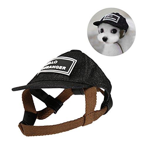 Petacc ペット 帽子 犬 猫 愛犬用 キャップ 調節可能 かわいい 野球帽子 ブラック