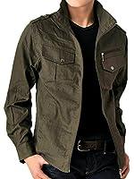 (アローナ)ARONA エポーレット使いドビーストライプミリタリーシャツジャケット