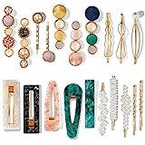 Mehayi 20 PCS Pearls and Acrylic Resin Hair Clips, Handmade Hair Barrettes, Marble Alligator bobby pins, Glitter Crystal Geom