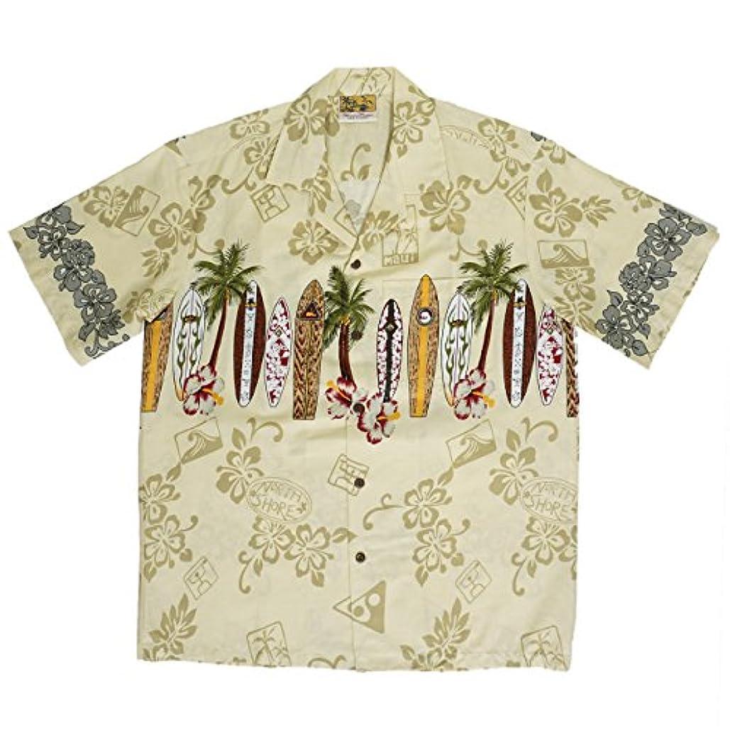 シェフ時間とともに正確な(ウィニーファッション) Winnie Fashion メンズアロハシャツ [ロングボード/アイボリー]