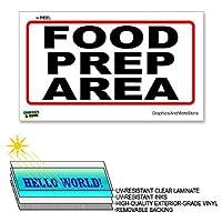 食品準備エリア赤白 - ×6で12で - ラミネート符号窓ビジネスレストランステッカー