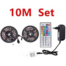 5050 RGB LED Strip Light Waterproof 5m 10m fita de led Lights Tape Diode Feed Tiras lampada DC 12V+Remote Control+Power Adapt