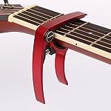 【全7色】 ギター カポタスト Guitar Capo フォーク エレキ 用 0.58 mm 0.71 mm 0.81 mm ピック 各2個 クロス 付き (2. レッド 赤)