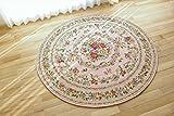 円形ゴブラン織シェニール 048 ラグマット ヨーロピアンクラッシックデザイン直径160cm ピンク色をベースにした色彩豊かなフラワーデザイン。