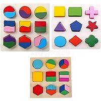 木製ジオメトリブロックパズル子供モンテッソーリ教育Preschool Toys