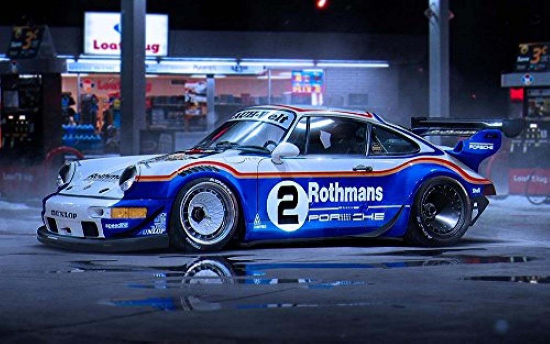 絵画風 壁紙ポスター (はがせるシール式) ポルシェ 911 ターボ レースカー スーパーカー キャラクロ PRGT-001W2 (ワイド版 603mm×376mm) 建築用壁紙+耐候性塗料