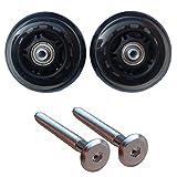 クラシックフライト専用2輪静音ホイール 車輪と専用ボルトセット 交換・修理用代用品 (76mm, クリア&ブラック)