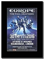 - Europe - 30th Anniversary Tour 2016. - つや消しマウントマガジンプロモーションアートワーク、ブラックマウント Matted Mounted Magazine Promotional Artwork on a Black Mount