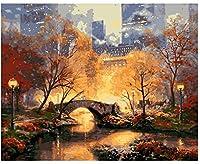 トワイライトマンハッタンDIY油絵大人手描きデジタル油絵初心者数値ツールボックスキャンバス量30x40cm