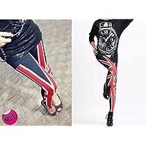 【Lucky Girl】ラッキーガール ヒップホップ ダンス 衣装 派手柄レギンス トレンド柄 レギンス UK イギリス国旗 ユニオンジャック HL-040-1UK