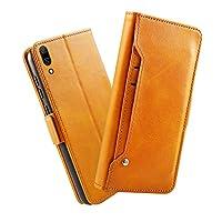 Huawei Enjoy 9 財布 シェル Huawei Enjoy 9 シェル,プレミアム MeetJP 設計 PU レザー & 柔らかい TPU ビルトイン カード/現金 スロットs,財布 シェル By MeetJP (Orange)