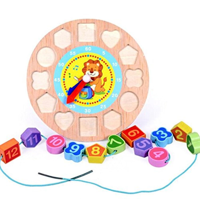 HuaQingPiJu-JP ラブリー教育木製時計玩具アーリーラーニングタイムナンバーシェイプ子供のための色の動物の認知玩具(ライオン)