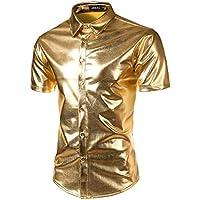 JOGAL Mens Metallic Silver Nightclub Styles Long Sleeves Button Down Dress Shirts