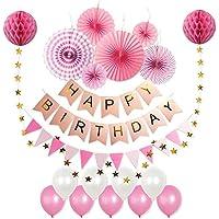 Whonline 豪華20点 誕生日 飾り付け セット ペーパーファン ペーパーポンポン ガーランド バルーン バースデー パーティー デコレーション 装飾 ピンク