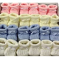 BABY KNITTED BOOTIES BOYS GIRLS SOCKS NEWBORN BOOTEES S 0-3 mths APPROX (Pink) by angelkids