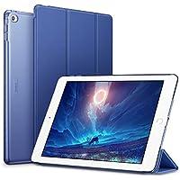 ESR iPad Air2 ケース 軽量 薄型 オートスリープ スタンド機能 半透明ー PUレザー 傷つけ防止 三つ折タイプ iPad Air2専用(モデル番号A1566 A1567)スマートカバー(ネービーブルー)