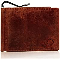 Men's Slim Wallet with Money Clip, Buffalo Brown Leather, RFID NFC Blocking Electronic Theft Protection, Without Coin Bag, One Black Stone