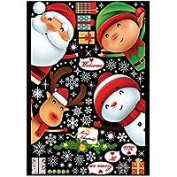 壁のステッカー クリスマスの装飾的な壁のステッカー 漫画のクリスマスの壁のステッカー の壁画付いたガラスのドア 窓 ショッピング 家の装飾 取り外し可能な壁紙1Set