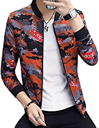 Keaac メンズ迷彩フライトジャケット軽量スリムフィットキルトコート