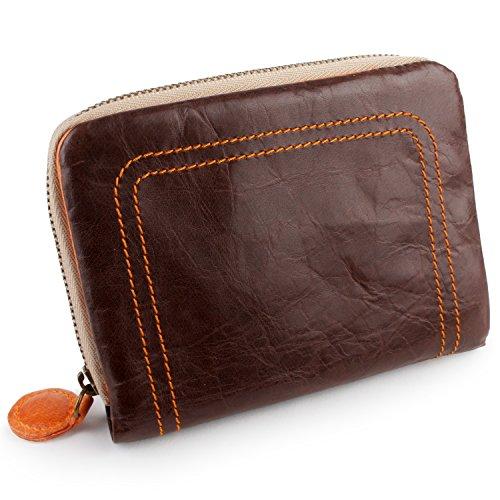 653baaafd300 [パッカパッカ] pacca pacca 二つ折り財布 財布 ファスナー お札入れ 大容量 カード入れ ポケット 馬革 本革 かわいい カラフル  キュート (チョコ×オレンジ)