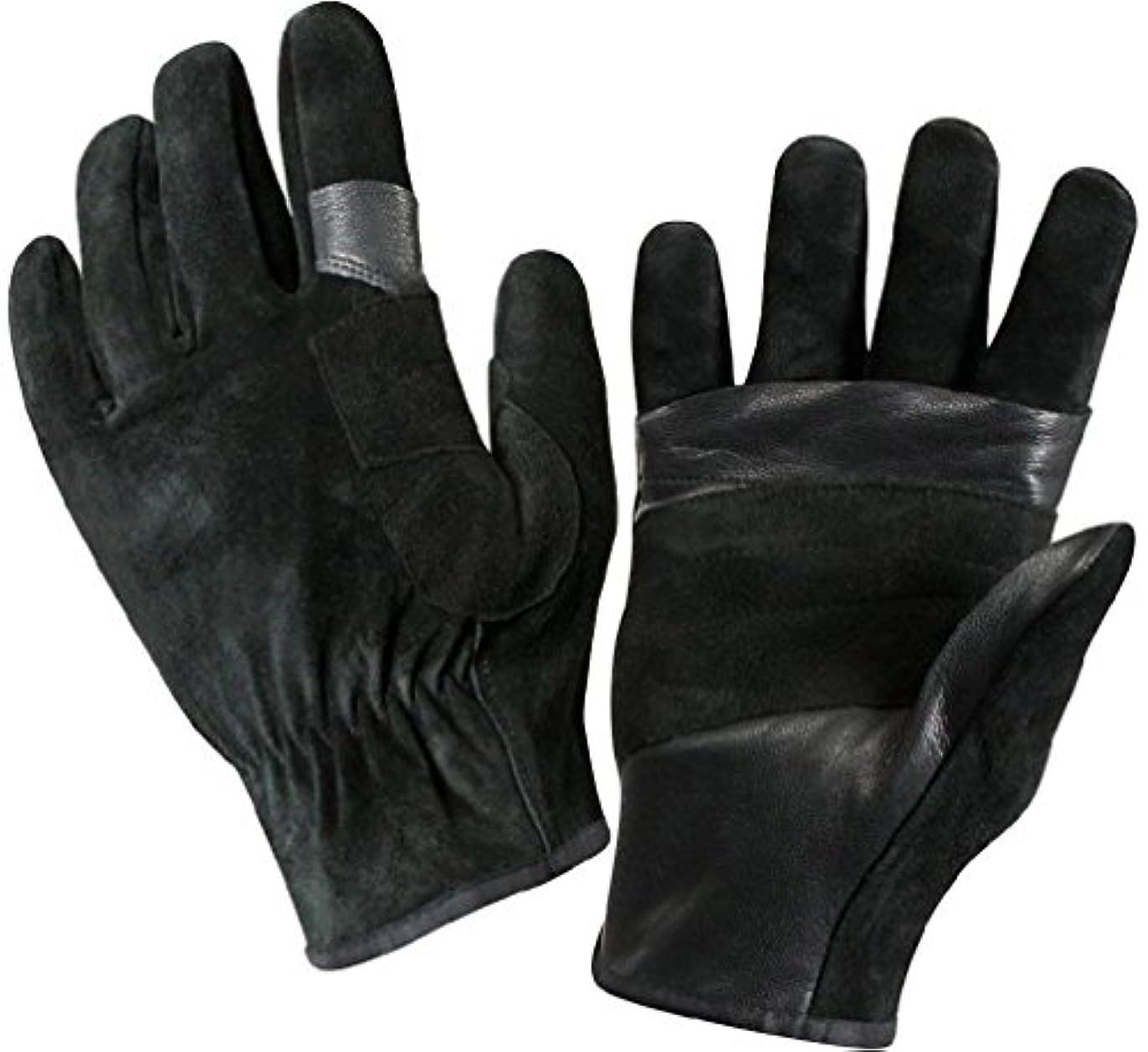 不測の事態ふつうコードレスブラックFastロープレザーレスキューGloves