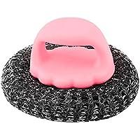 uxcell クリーニングブラシ ピンク プラスチックハンドル 金属ワイヤーボール 家庭 キッチン用