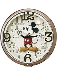 セイコー クロック 掛け時計 ミッキーマウス アナログ 6曲 メロディ ミッキー&フレンズ Disney Time ディズニータイム 茶 メタリック FW576B SEIKO