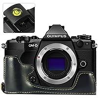 No1accessory XJD-EM5II-D01 ブラック Olympus OM-D E-M5 Mark II . EM5 II 専用 防水 PU レザー 一眼レフ カメラバッグ カメラケース ハンドストラップ + レベル