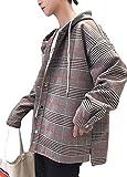 DeBangNi メンズ ロングコート 長袖 フード付き 秋 ギンガムチェック チェスターコート 無地 スタジャン おしゃれ ハンサム ジャケット アウター ゆったり bf風 カジュアル ファッション 韓国風グレーN1