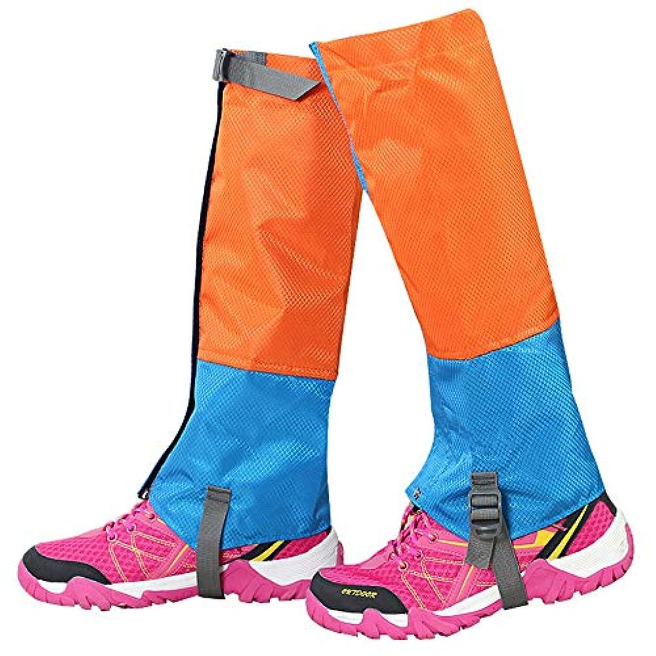 メタリック連想バルク軽量で ウォータープルーフハイキングガーターズ耐久性のあるレギンスガイター通気性の高いレッグカバーラップ男性用女性マウンテントレッキングスキーウォーキングクライミングハンティング - 1ペア (色 : オレンジ+ブルー, サイズ : Medium)