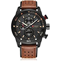 Curren Mens Sports Quartz Watches Leather Analog Date Army Military Wrist Watch Coffee