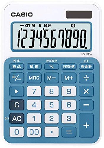 カシオ カラフル電卓 ミニジャストタイプ 10桁 MW-C11A-BU-N レイクブルー