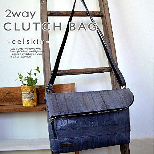 (TONY styleオリジナルデザインバッグ) うなぎの革イールスキン 2wayクラッチバッグ・ショルダーバッグ グレー 灰色