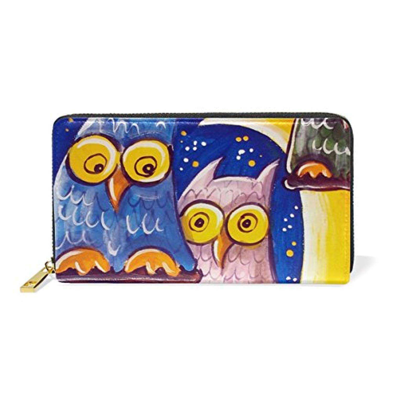 VAWA 財布 レディース 長財布 大容量 かわいい 星空 月柄 フクロウ アニマル 動物柄 可愛い かわいい ファスナー財布 ウォレット 薄型 本革 型押し 小銭入れ プレゼント用