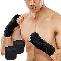 Poilee バンテージ ボクシング コットン 柔軟 通気 肌触り 練習用バンド 手首保護 非伸縮タイプ 格闘技 ボクシング 訓練 幅5cm 長さ2.5m