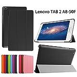 Asng Softbank 501LV Lenovo TAB2 / TAB3 8インチ専用保護ケース 超薄型 最軽量 マグネット式 オートスリップ (HDクリア保護フィルム1枚付き) (Black)