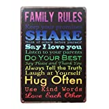 YESURPRISE family rules 壁飾り レトロなデザインボード ポストカード ブリキ看板 サインプレート 【20×30cm】