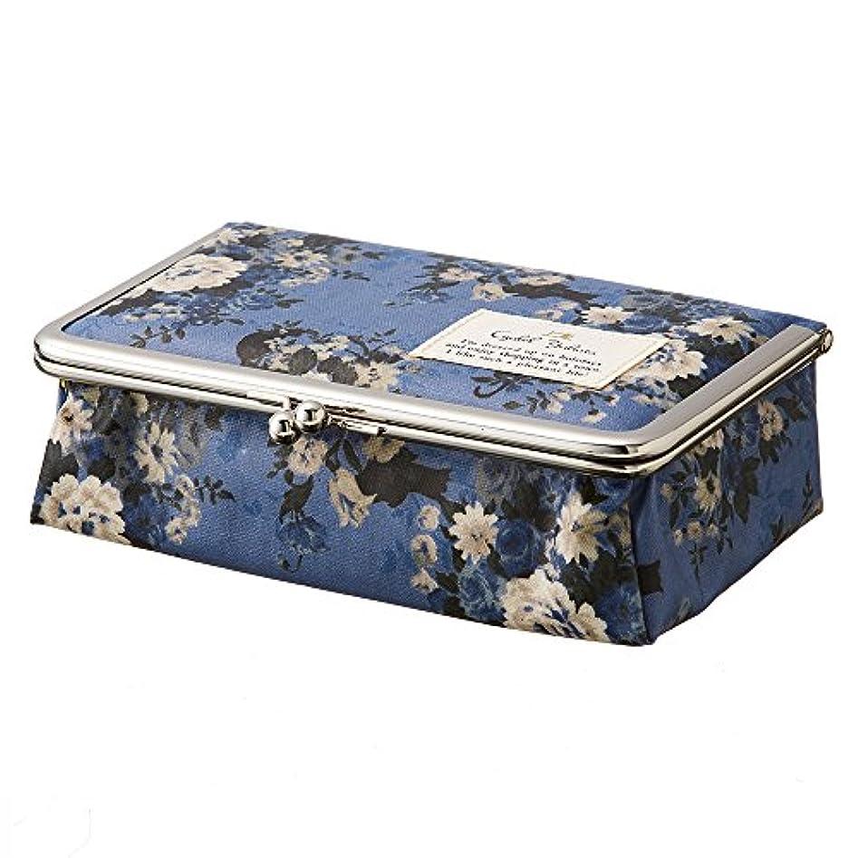 誰のこだわり保証する【日本製】がま口ミラー付きBOX ローズ?キャット(レッド?ブルー) / 鏡付き ミラー メイク ボックス 大容量 小物入れ 布 ギフト プレゼント