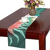 LKCDNG テーブルランナー 春の緑の葉 鳥 クロス 食卓カバー 麻綿製 欧米 おしゃれ 16 Inch X 72 Inch (40cm X 182cm) キッチン ダイニング ホーム デコレーション モダン リビング 洗える