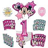 Mayflower Products ミニーマウスと友達 1歳の誕生日パーティー用品 8ゲストデコレーションキットとバルーンブーケ