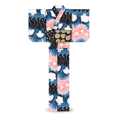 tsumorichisatoレディース浴衣マリン海模様黒紺7t-21
